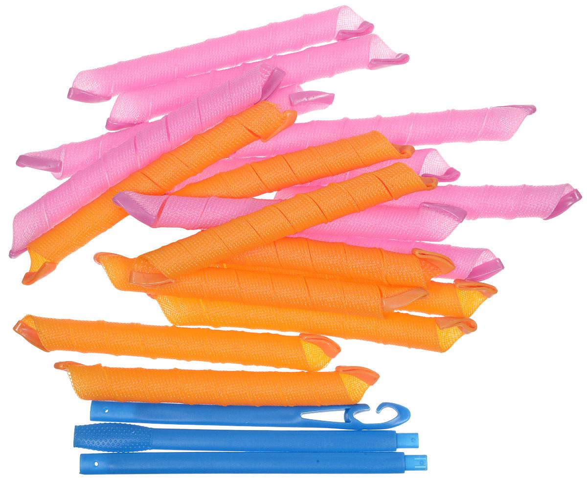 Magic Leverage Волшебные бигуди Длинные 54 см, 18 штД54Длинные бигуди Magic Leverage (54 см в расправленном виде и и 20 см в скрученном) удобны в обращении. Проденьте складной крючок, зацепите влажные волосы и протащите крючок обратно. Расправьте прядь и отпустите бигуди. Она закрутится в спираль и надежно зафиксируется на локоне: силиконовые наконечники не дадут ей сползти и испортить прическу. Если вы любите крупные романтичные локоны, заправляйте крупные пряди. Если же предпочитаете кокетливые мелкие кудряшки, рекомендуем приобрести 2 комплекта сверхдлинных бигуди и закручивать тонкие прядки. Характеристики: Длина: 54 см Ширина локона: 2,5 см Диаметр завитка: 2 см Двойной крючок Кол-во в упаковке: 18 шт. Упаковка: косметичка