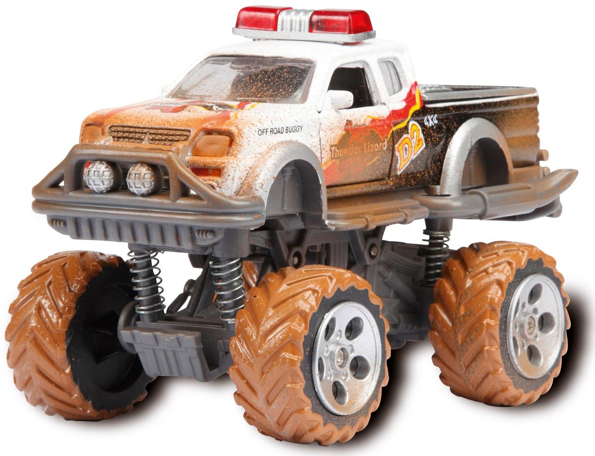 Dickie Toys Внедорожник Rally Monster цвет белый3742000_белыйМощный внедорожник Dickie Toys Rally Monster с открывающимися дверями непременно понравится вашему ребенку. Корпус машинки выполнен в белом цвете. Его поверхность покрыта стилизованными изображениями пламени, номерами, символами и другими картинками. Кроме того, игрушка может похвастать встроенным фрикционным механизмом, благодаря которому ее можно запускать, дабы она преодолевала небольшие расстояния без помощи игрока. Система амортизации обеспечивает внедорожному авто максимальную проходимость даже в самых трудных условиях. Изготовлена эта высокодетализированная модель из обыкновенного пластика, обеспечивающего ей, помимо всего прочего, солидный запас прочности. С этой игрушкой ваш малыш будет часами занят игрой. Порадуйте его таким замечательным подарком!