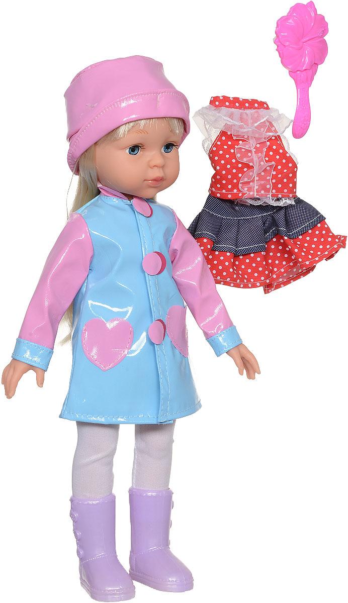 Карапуз Кукла озвученная Осенняя пора цвет плаща голубойAUTUMN-100-RU_голубойКрасивая озвученная кукла Карапуз Осенняя пора имеет милый и привлекательный вид. У куклы симпатичное лицо, светлые длинные волосы и стильный осенний костюмчик, состоящий из плащика, сапог и шляпки. В комплекте также имеется дополнительный наряд, который можно одевать в солнечную погоду - это джинсовая юбочка и красная футболка в горошек. Длинные волосы куклы можно расчесывать расческой, входящей в набор. Также девочка сможет придумывать ей разнообразные прически. Важной особенностью куклы является ее оснащенность встроенным звуковым модулем, который позволяет игрушке воспроизводить 4 стихотворения (про мамочку, про подружку, про досуг и про прогулку) и 4 песни (Песенка Красной Шапочки, От улыбки, Облака, Если с другом вышел в путь). Порадуйте свою дочурку таким замечательным подарком! Рекомендуется докупить 3 батарейки напряжением 1,5V типа АG13/LR44 (товар комплектуется демонстрационными).