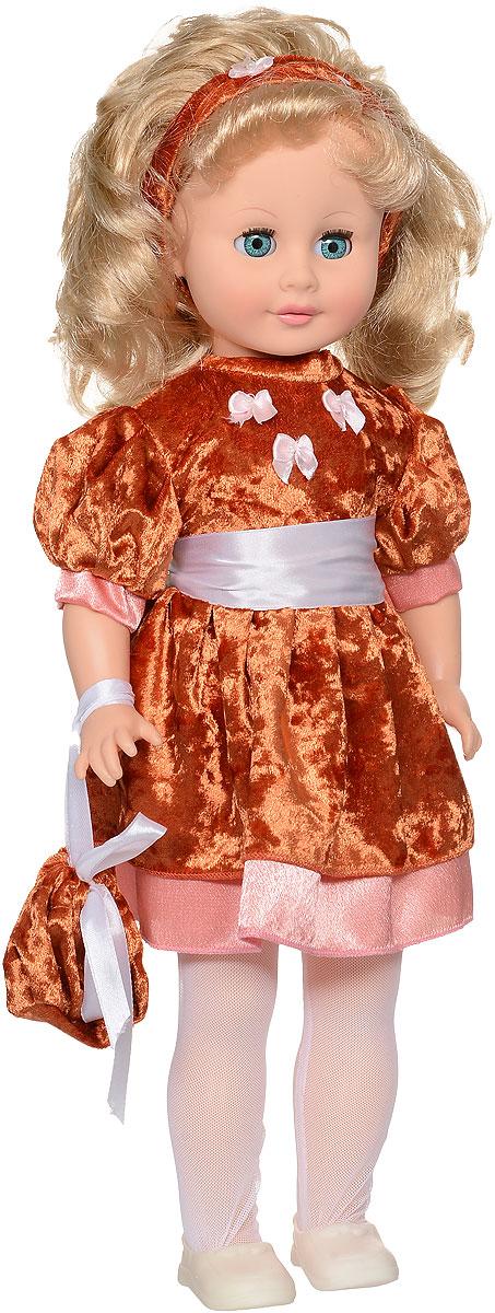 Весна Кукла озвученная Людмила цвет платья темно-оранжевыйВ1891/о_оранжевыйМилая кукла Весна Людмила сможет стать настоящей подружкой для ребенка. У куклы зелено-голубые глаза и длинные светлые волосы. Одета куколка в нарядное платье, на голове - ободок для волос из бархата, на ногах - колготки из сетки-стрейч и туфельки. В руке у куклы - сумочка. У Людмилы закрываются глазки, и она умеет разговаривать. При нажатии на звуковое устройство, вставленное в спинку, кукла произносит различные фразы. Наличие элементов одежды, которые легко снимаются и надеваются, разнообразят возможности сюжетно-ролевых игр с этой куклой, в процессе которых развивается творческое воображение ребенка. Игры с очаровательной куклой также помогут развить мелкую моторику, а возможность менять костюмчики и прически формирует эстетический вкус. Для работы игрушки рекомендуется докупить 3 батарейки LR44/AG13/СЦ357 (товар комплектуется демонстрационными).