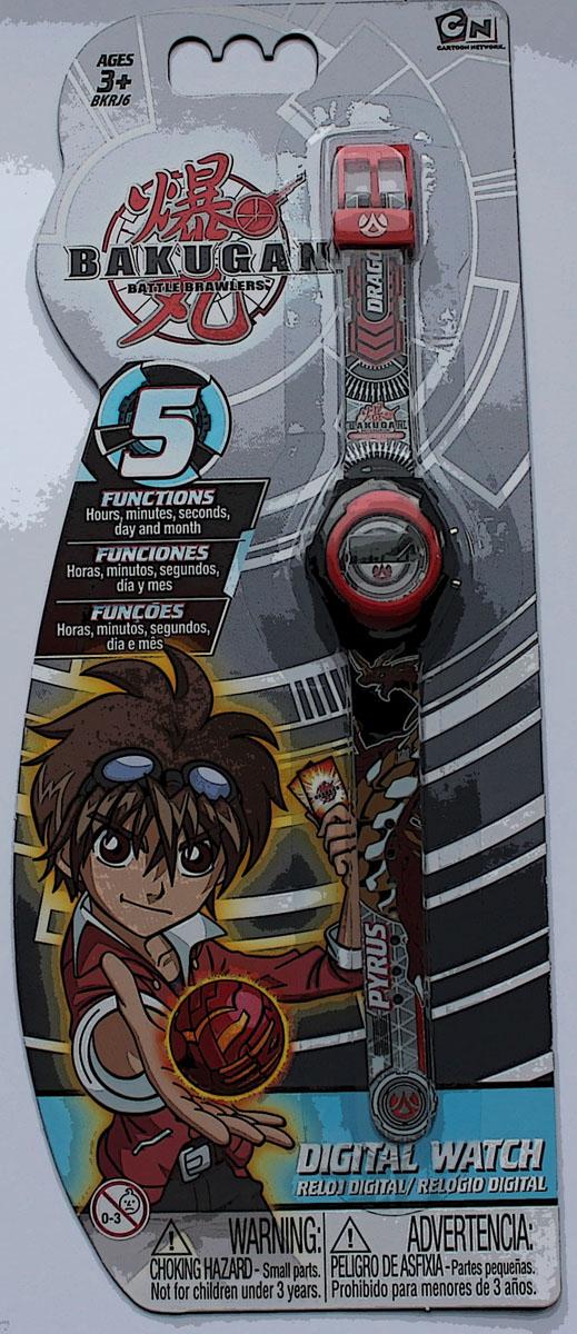 Часы наручные электронные Bakugan, цвет: серый. BKRJ6-2BKRJ6-2Оригинальные электронные детские часы с корпусом и браслетом из пластика. Циферблат защищен от повреждений прочным пластиковым стеклом. Электронные часы имеют 5 функций: месяц – день, часы – минуты – секунды. Товар изготовлен полностью из пластмассы с питанием от химических источников тока, 1 сменный элемент включен в комплект (LR41 (AG3) 1.5 V). Рекомендуемый возраст: от 3 лет.
