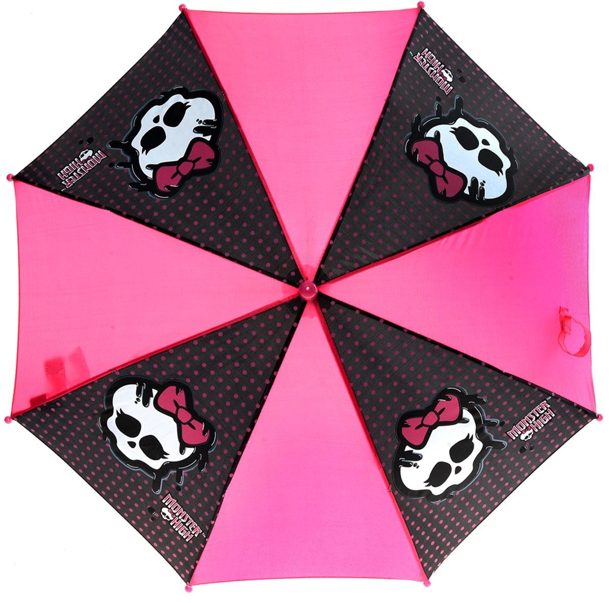 Зонт-трость для девочек Monster High, цвет: розовый, черный. MOH-132MOH-132Компактный детский зонтик-трость станет замечательным подарком для вашего чада и защитит его не только от дождя, но и от солнца. Красочный дизайн зонтика поднимет настроение и станет незаменимым атрибутом прогулки. Ребенок сможет сам открывать и закрывать зонтик, благодаря легкому механизму, а оригинальная расцветка зонтика привлечет к себе внимание. Характеристики: Диаметр купола: 68 см. Длина в сложенном виде: 57 см. Количество спиц: 8 шт. Тип механизма: механический (открывается/закрывается вручную). Конструкция зонта: зонт-трость. Материал: пластик, полиэстер, металл.
