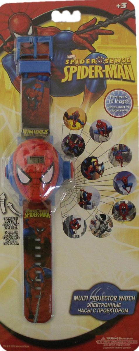 Часы наручные электронные Marvel, с проектором и 10 сменными изображениями, цвет: красный. NP14SMNP14SMНаручные часы Человек-Паук с проектором - стильные и удобные электронные часы, которые придутся по вкусу любителям бесстрашного, могучего и в то же время доброго и отзывчивого героя-Человека-Паука, и станут прекрасным аксессуаром к любой одежде. При нажатии на кнопку с левой стороны часов, изображения Человека-Паука с правой стороны проецируются на стену или потолок. Вашего малыша порадуют 10 различных изображений, все они цветные и яркие. Носить часы можно на браслете, он красного цвета. На лицевой части браслета имеется принт с изображением всё того же Человека-Паука, сами же часы выполнены в форме его головы. Часы изготовлены из высококачественных материалов и очень удобны. Яркая привлекательная упаковка - объемный блистер с отверстием для подвешивания. Рекомендуемый возраст - от 3х лет и старше.
