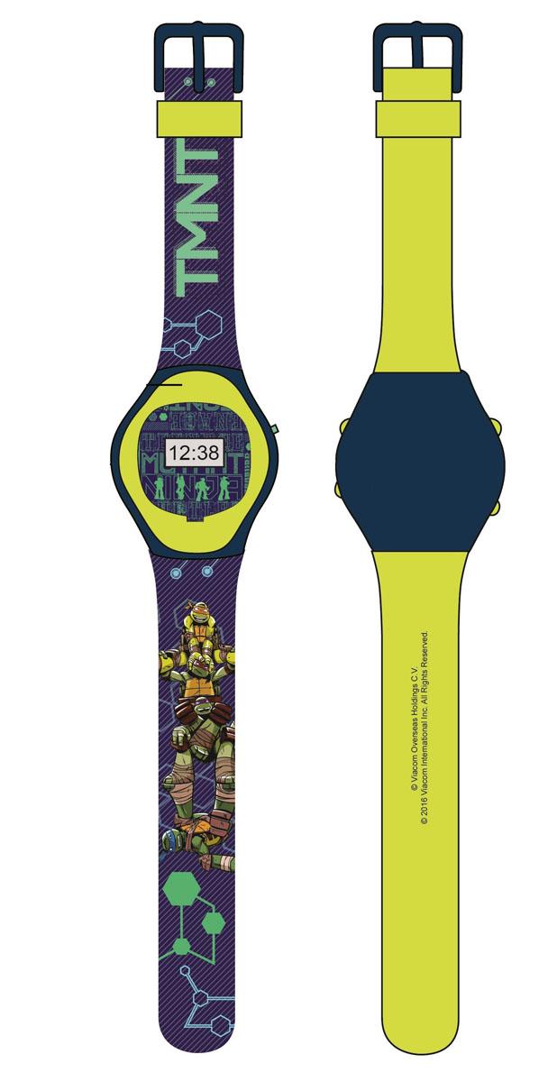 Часы наручные электронные Черепашки Ниндзя, цвет: зеленый. NT30108NT30108Электронные детские часы с корпусом и браслетом из пластика. Циферблат защищен от повреждений прочным пластиковым стеклом. Товар изготовлен полностью из пластмассы с питанием от химических источников тока, 1 сменный элемент включен в комплект (LR41 (AG3) 1.5 V). Рекомендуемый возраст: от 3 лет.