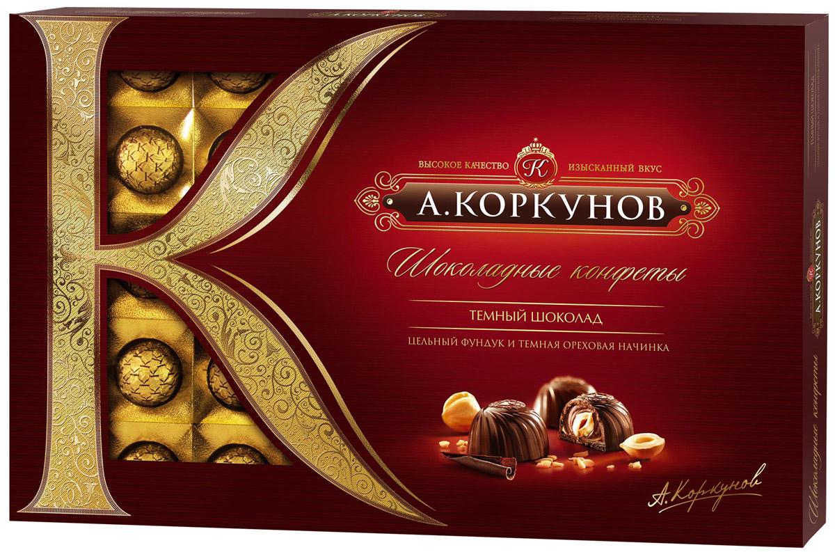 Коркунов конфеты темный шоколад, 253 г4606720007785При производстве конфет КОРКУНОВ используются сертифицированные сорта какао-бобов, произрастающие в Западной Африке. Ореховая начинка конфет – это настоящее, классическое пралине - сочетание сахара и орехов. Также для производства конфет КОРКУНОВ закупаются только отборные орехи, а каждый из поставщиков проходит строгую проверку качества. Элегантная упаковка подчеркивает вкус изысканных шоколадных конфет. Все это делает конфеты КОРКУНОВ одним из самых желанных подарков на любой праздник.
