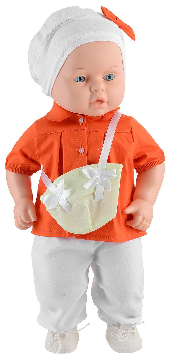 Весна Пупс Влада цвет одежды оранжевый белыйВ2413_оранжевыйПупс Весна Влада может стать настоящей подружкой для ребенка. Кукла очень похожа на настоящего ребенка, с милым личиком, детскими припухлостями, ее так и хочется взять на ручки и позаботиться о ней. Спокойное, приятное выражение лица способствует эмоциональному развитию ребенка. Влада одета в рубашку оранжевого цвета и белые штанишки, шапочку с бантиком и ботиночки. Спереди у костюмчика на текстильной ленточке висит сумочка. Продуманная конструкция куклы позволяет ее сажать, укладывать спать, переодевать. Кукла подходит для сюжетных игр и разнообразных игровых действий ребенка.