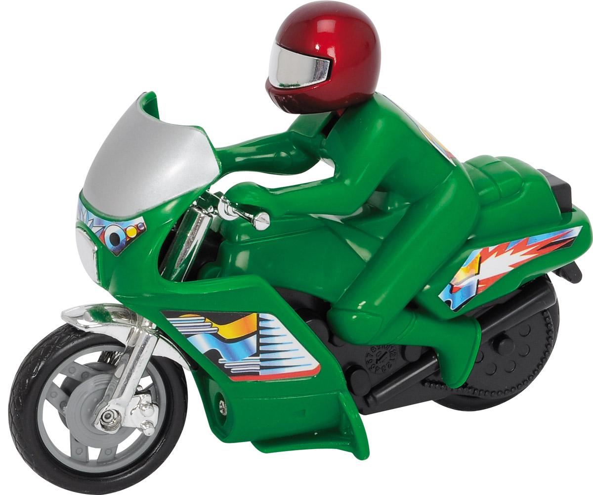 Dickie Toys Мотоцикл Power Bike цвет зеленый3342004_зеленыйМотоцикл Dickie Toys Power Bike - это игрушечный мотоцикл, который обязательно удовлетворит желания вашего юного любителя экстрима. Он выполнен в ярко-зеленом цвете, который сразу же бросается в глаза. Кроме того, на поверхность мотоцикла нанесены наклейки и изображения, которые являются традиционными для гоночных моделей. Вместе с байком в комплект входит фигурка водителя, одетого в шлем и красный костюм. Его голова подвижна и позволяет ему смотреть в разных направлениях. Сделайте вашему ребенку такой замечательный подарок!