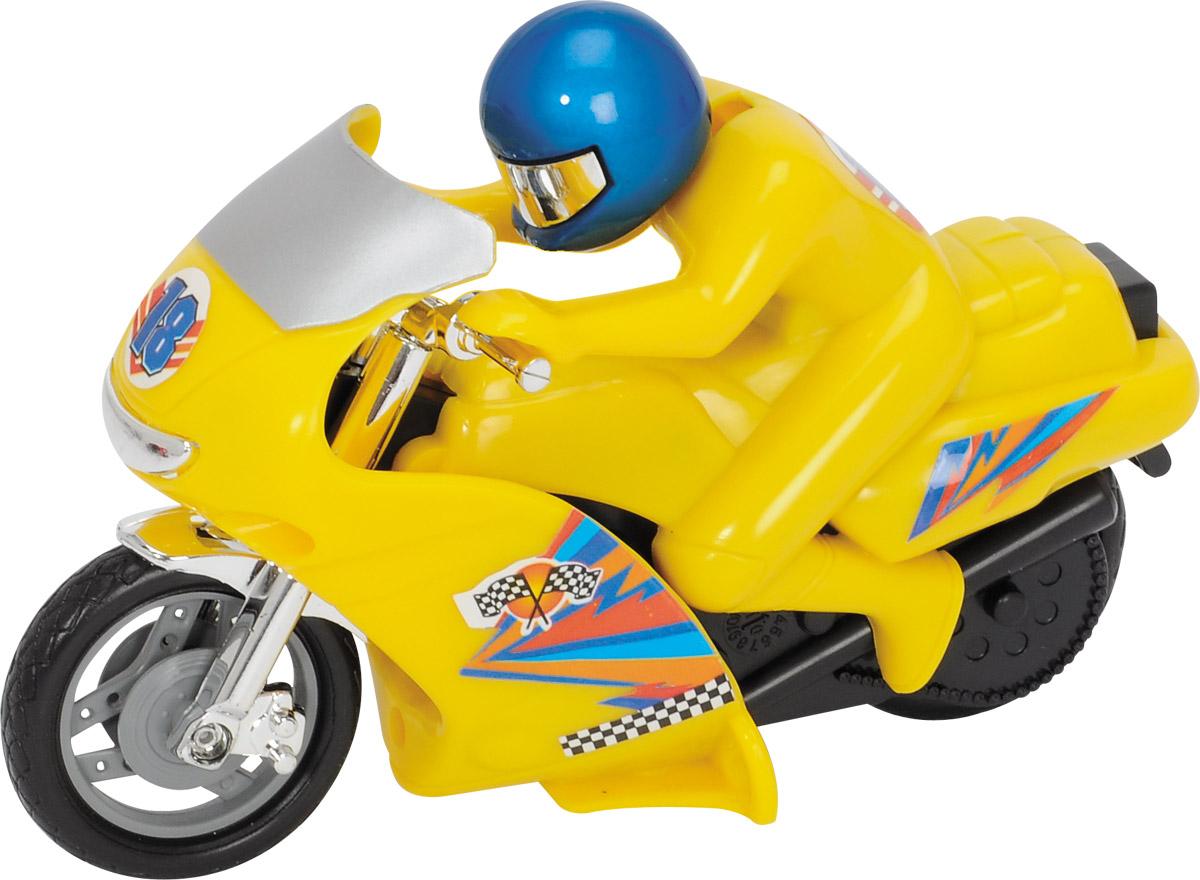Dickie Toys Мотоцикл Power Bike цвет желтый3342004_желтыйМотоцикл Dickie Toys Power Bike - это игрушечный мотоцикл, который обязательно удовлетворит желания вашего юного любителя экстрима. Он выполнен в ярко-желтом цвете, который сразу же бросается в глаза. Кроме того, на поверхность мотоцикла нанесены наклейки и изображения, которые являются традиционными для гоночных моделей. Вместе с байком в комплект входит фигурка водителя, одетого в шлем и красный костюм. Его голова подвижна и позволяет ему смотреть в разных направлениях. Сделайте вашему ребенку такой замечательный подарок!