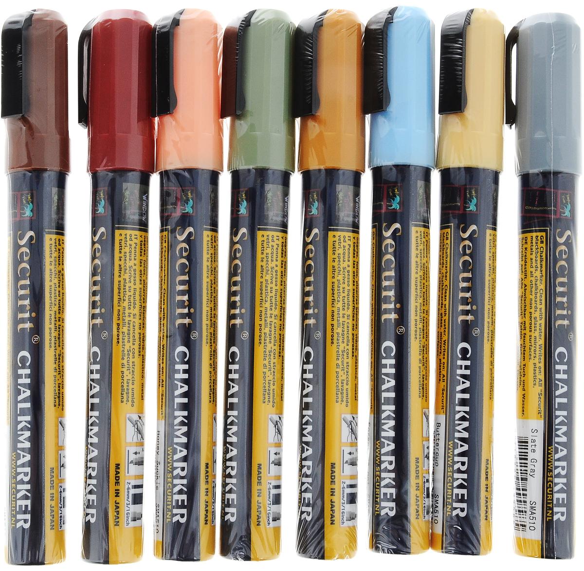 Маркеры для сообщений Securit, 8 штSMA510-V8-ETМаркеры для сообщений Securit - это набор из 8 меловых маркеров цвета зеленого мха, коричневого, светло-желтого, серого, светло-оранжевого, голубого, вишневого, оранжевого цветов. Меловые маркеры позволяют наносить стираемые надписи на любые непористые поверхности - стекло, зеркала, пластик, металл или специальные покрытия и доски. Теперь вы сможете рисовать, делать заметки и отставлять послания для друзей и близких где угодно. Чтобы смыть надпись, достаточно просто протереть ее мокрой губкой. Толщина линии: 2-6 мм. Длина маркера: 14,5 см.