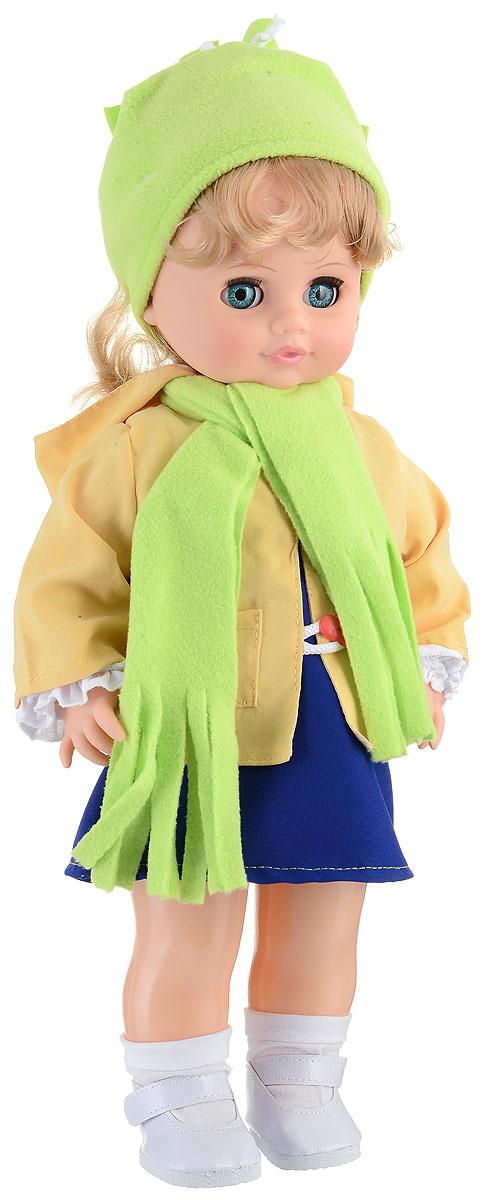 Весна Кукла озвученная Инна цвет одежды желтый синий салатовыйВ1278/о_салатовыйМилая кукла Весна Инна сможет стать настоящей подружкой для ребенка. У куклы голубые глаза и длинные светлые волосы. На ней надет костюмчик из белой кофточки, синего сарафана, курточки и шапки. На шее повязан шарф в цвет шапки. На ногах - белые носочки и туфельки. У Инны закрываются глазки, и она умеет разговаривать. При нажатии на звуковое устройство, вставленное в спинку, кукла произносит различные фразы. Наличие элементов одежды, которые легко снимаются и надеваются, разнообразят возможности сюжетно-ролевых игр с этой куклой, в процессе которых развивается мелкая моторика и творческое воображение ребенка. Порадуйте свою принцессу таким прекрасным подарком! Милая игрушка научит ребенка доброте и заботе о других. Для работы игрушки рекомендуется докупить 3 батарейки LR44/AG13/СЦ357 (товар комплектуется демонстрационными).