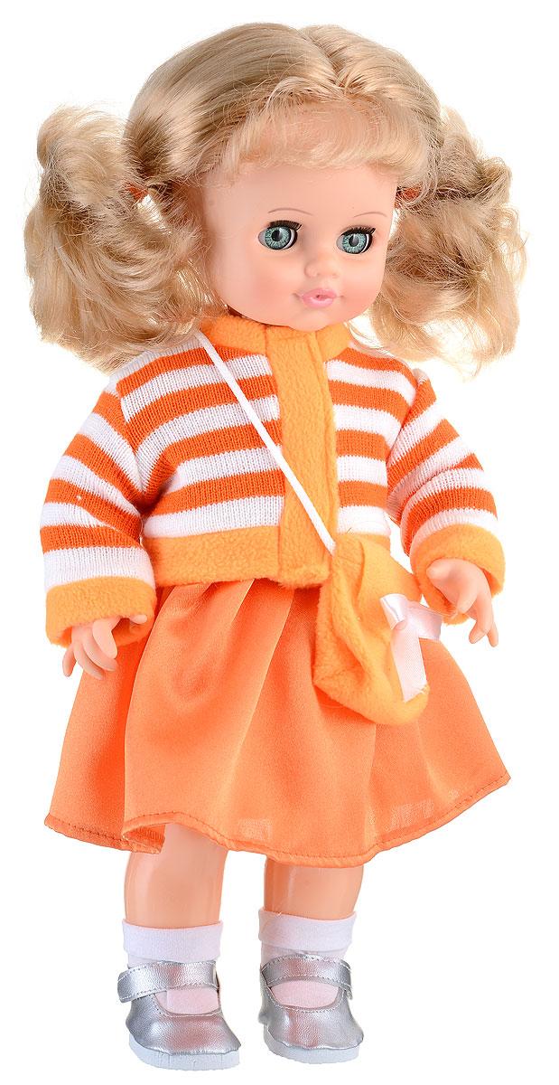 Весна Кукла озвученная Инна цвет одежды оранжевый белыйВ1410/оМилашка Инна - чудесная куколка, которая станет настоящей подружкой для вашей дочурки. Игрушка обладает интересным игровым функционалом: она оборудована звуковым модулем, благодаря которому умеет разговаривать. Инна очень любит чистоту, поэтому ее реплики имеют тематику, направленную на соблюдение гигиены: она просит вымыть ей ручки и лицо, спрашивает, где полотенце, и искренне радуется летающим мыльным пузырькам. Инна одета в нарядное атласное платье и вязаную кофточку на застежке-липучке. На ногах у нее гольфы и серебристые туфельки. Волосы Инны выглядят очень реалистично, их можно укладывать, как захочется. Глаза куклы закрываются, если уложить ее спать. Милая игрушка станет лучшей подружкой для девочки и научит ребенка доброте и заботе о других. Для работы игрушки рекомендуется докупить 3 батарейки LR44/AG13/СЦ357 (товар комплектуется демонстрационными).
