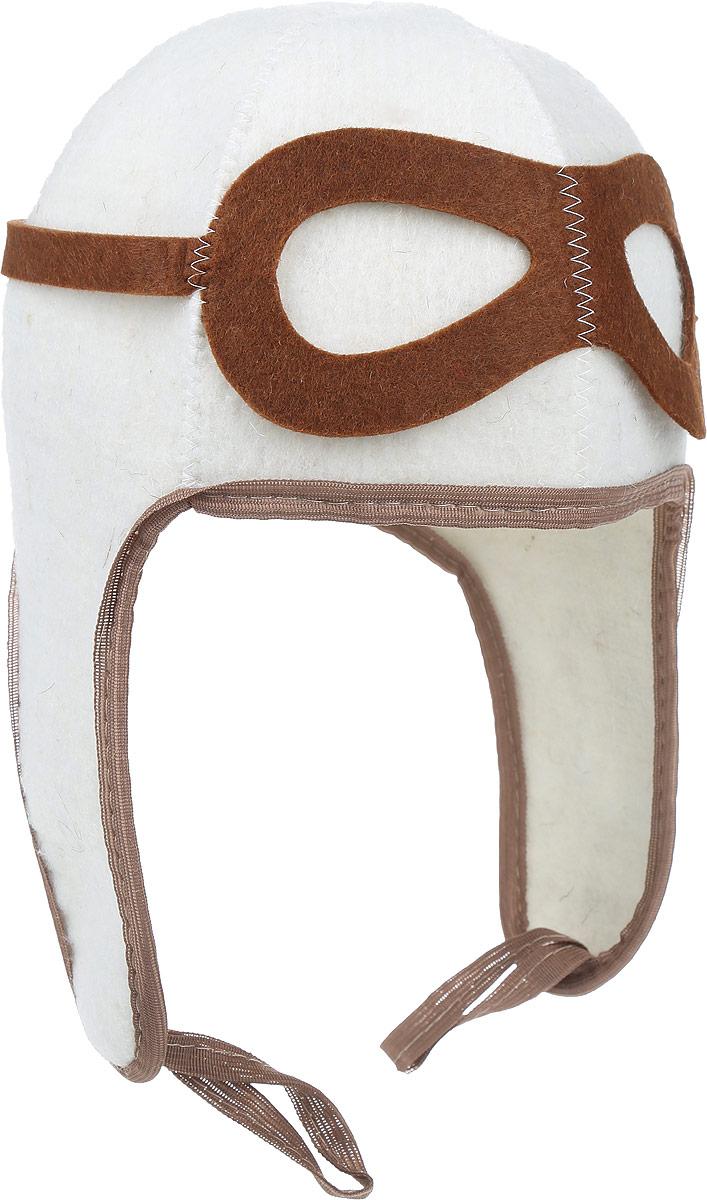 Шапка для бани и сауны Доктор баня ПилотБ418_коричневый, белыйШапка Доктор баня Пилот - станет незаменимым аксессуаром для любителей отдыха в бане и сауне. Шапка выполнена из войлока (50% шерсти, 50% синтетики) и оформлена аппликацией в виде очков пилота. Она имеет небольшие забавные ушки. Необычный дизайн изделия поможет сделать ваш отдых более приятным и разнообразным, к тому же шапка защитит вас от появления головокружения в бани, ваши волосы от сухости и ломкости, а голову от перегрева. Обхват головы (по основанию шапки): 62 см. Общая высота шапки: 33 см
