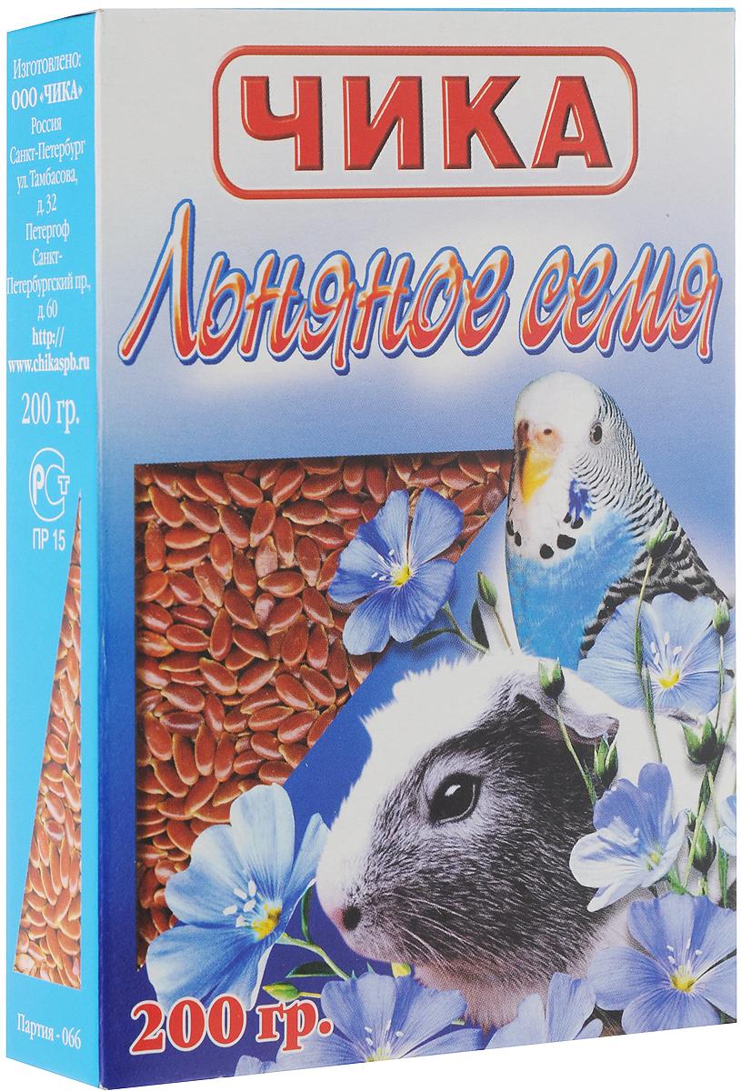 """Добавка к корму Чика """"Льняное семя"""" для попугаев и грызунов, 200 г 4607045060332"""