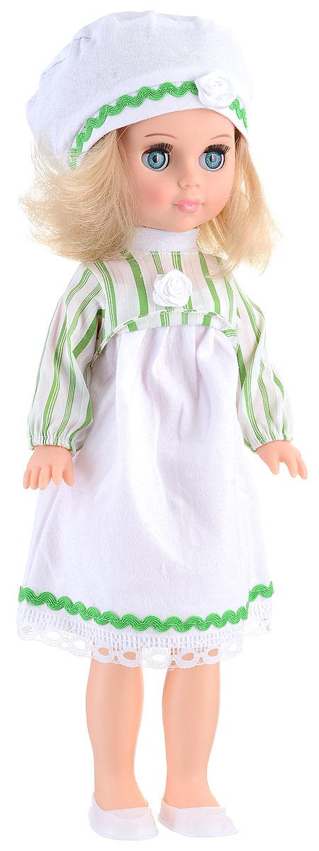 Весна Кукла Мила цвет одежды белый зеленыйВ2412_зеленыйБлагодаря миловидной кукле Весна Мила у вашей дочки появится не просто игрушка, а новая красивая подружка по имени Мила. Кукла одета в стильное белое платьице с полосатым верхом и кружевным подолом, а на голове у куклы - модный беретик с декоративным цветочком и тесьмой. У Милы подвижные ручки и ножки, а ее реалистичные светло-русые волосы можно причесывать и украшать заколочками. Юная хозяйка сможет уложить любимицу спать, и куколка правдоподобно погрузится в сон, закрыв свои глазки. Кукла изготовлена из материалов, которые соответствуют требованиям безопасности, предусмотренным техническим регламентом Таможенного союза. Играя с куклой, дети смогут развить фантазию при придумывании сюжета для игры, а также разовьют моторику рук, переодевая игрушку в красивые наряды.