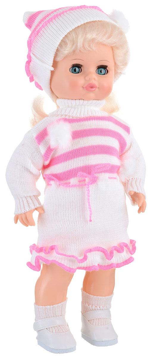 Весна Кукла озвученная Инна цвет одежды белый розовыйВ1056/о_розовыйМилая кукла Весна Инна сможет стать настоящей подружкой для ребенка. У куклы голубые глаза и длинные светлые волосы. Одета куколка в вязаное платье, шапочку, белые носочки и туфельки. У Инны закрываются глазки, и она умеет разговаривать. При нажатии на звуковое устройство, вставленное в спинку, кукла произносит различные фразы. Наличие элементов одежды, которые легко снимаются и надеваются, разнообразят возможности сюжетно-ролевых игр с этой куклой, в процессе которых развивается творческое воображение ребенка. Игры с очаровательной куклой также помогут развить мелкую моторику, а возможность менять костюмчики и прически формирует эстетический вкус. Для работы игрушки рекомендуется докупить 3 батарейки LR44/AG13/СЦ357 (товар комплектуется демонстрационными).