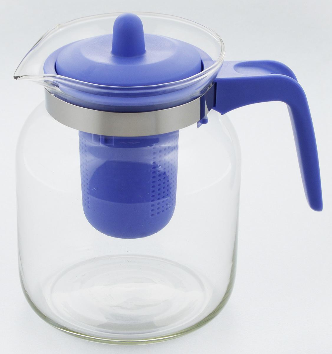 Чайник-кувшин Menu Чабрец, с фильтром, цвет: прозрачны, синий, 1,45 лCHZ-14_синийЧайник-кувшин Menu Чабрец изготовлен из прочного стекла, которое выдерживает температуру до 100°C. Он прекрасно подойдет для заваривания чая и травяных настоев. Классический стиль и оптимальный объем делают чайник удобным и оригинальным аксессуаром, который прекрасно подойдет для ежедневного использования. Ручка изделия выполнена из пищевого пластика, она не нагревается и обеспечивает безопасность использования. Благодаря съемному ситечку и оптимальной форме колбы, чайник- кувшин Menu Чабрец идеально подходит для использования его в качестве кувшина для воды и прохладительных напитков. Диаметр чайника по верхнему краю: 10,3 см. Общий диаметр чайника: 11 см. Высота чайника (без учета ручки и крышки): 15,6 см. Высота чайника (с учетом ручки и крышки): 17 см.