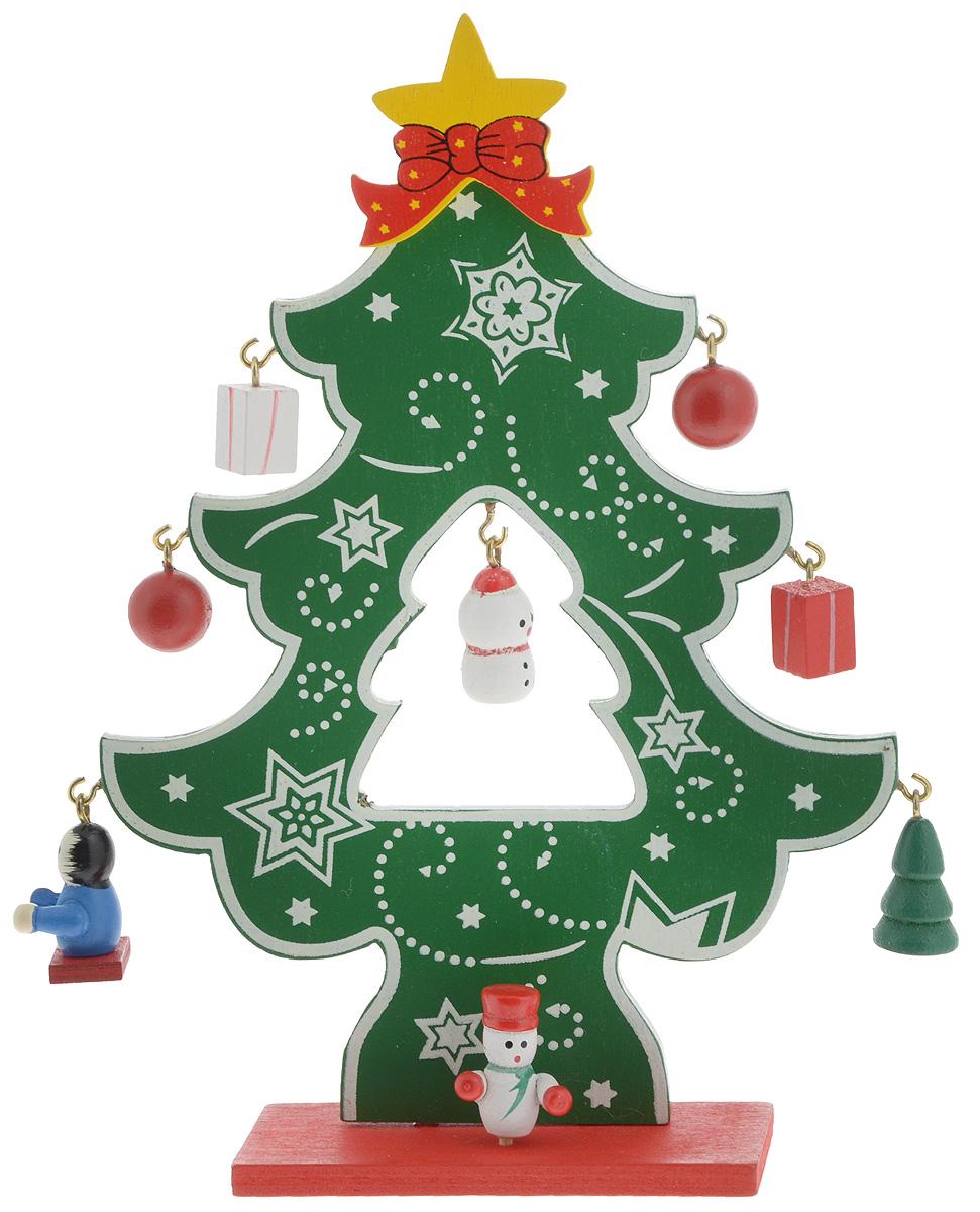 Украшение новогоднее Елочка с игрушками, высота 16 см72801Декоративная фигурка Елочка с игрушками изготовлена из древесины. Она подойдет для оформления новогоднего интерьера и принесет с собой атмосферу радости и веселья. Изделие выполнено в виде елочки на подставке, на которой, словно игрушки, развешаны маленькие фигурки снеговиков, елочки, подарков и шариков. Новогоднее украшение Елочка с игрушками станет приятным подарком родным и близким на Новый год!
