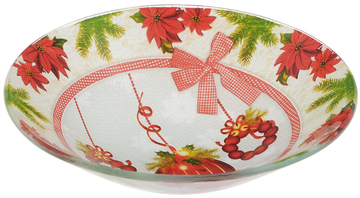 Салатник Family & Friends, диаметр 16 см216003..Салатник Family & Friends изготовлен из качественного стекла и оформлен новогодним рисунком. Такой салатник идеально подойдет для сервировки соусов, ягод, варенья, меда, различных закусок. Изделие красиво дополнит сервировку стола и станет полезным приобретением для любой хозяйки. Не рекомендуется использовать в микроволновой печи и мыть в посудомоечной машине.