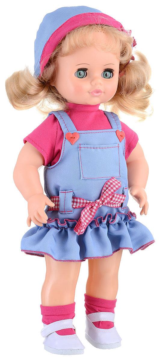 Весна Кукла озвученная Инна цвет одежды голубой розовыйВ2623/о_голубойКукла Весна Инна - милая и нарядная девочка. Кукла одета в яркую футболку, голубой сарафан с декоративным поясом и панамку. На ногах куколки - носки и удобные туфельки-балетки. Вся одежда легко снимается и отличается замечательным качеством материалов. Инна оснащена звуковым модулем, благодаря которому может произносить несколько фраз: Я люблю музыку!, Давай потанцуем!, Покружись со мной! и другие. Модуль активируется нажатием на кнопку, расположенную на спине куклы. Игрушка изготовлена из качественных и безопасных материалов. Волосы куклы можно укладывать по своему вкусу, изначально же они собраны в два озорных хвостика. Точки артикуляции позволяют придавать куколке различные положения: усаживать, ставить на ножки, поворачивать голову и руки. Глаза Инны закрываются, если наклонить куклу. Для работы игрушки рекомендуется докупить 3 батарейки LR44/AG13/СЦ357 (товар комплектуется демонстрационными).