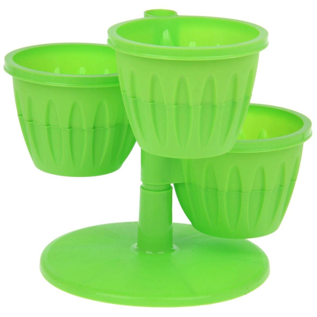 Каскад цветочный JetPlast Каскад, с подставкой, цвет: зеленый, высота 23 см4612754051144Цветочный каскад JetPlast Каскад состоит из трех горшков, установленных на одну подставку. Каждый горшок состоит из двух частей: в верхнюю высаживается растение, а нижняя часть используется как резервуар для воды. Цветочный каскад позволяет вам эффективно использовать площадь подоконника для высадки растений. Высота каскада: 23 см. Диаметр горшка по верхнему краю: 13,5 см. Диаметр дна горшка: 7,8 см. Высота горшка: 10 см.