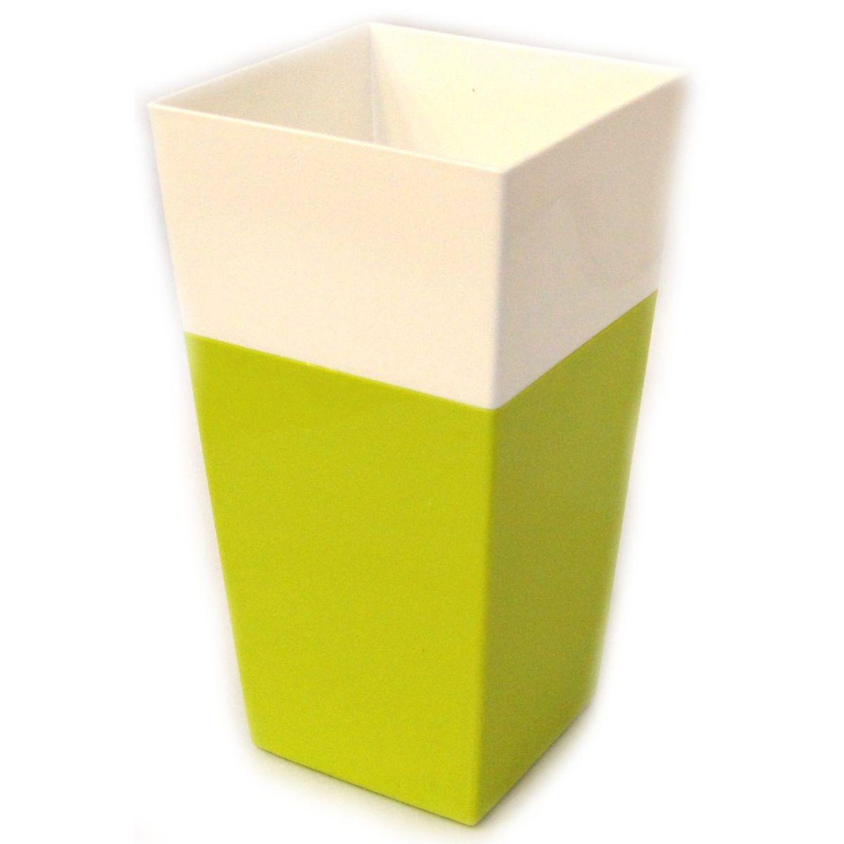 Кашпо JetPlast Дуэт, цвет: фисташковый, белый, высота 26 см4612754052059Кашпо имеет строгий дизайн и состоит из двух частей: верхней части для цветка и нижней – поддона. Конструкция горшка позволяет, при желании, использовать систему фитильного полива, снабдив горшок веревкой. Оно изготовлено из прочного полипропилена (пластика). Размеры кашпо: 13 x 13 x 26 см.