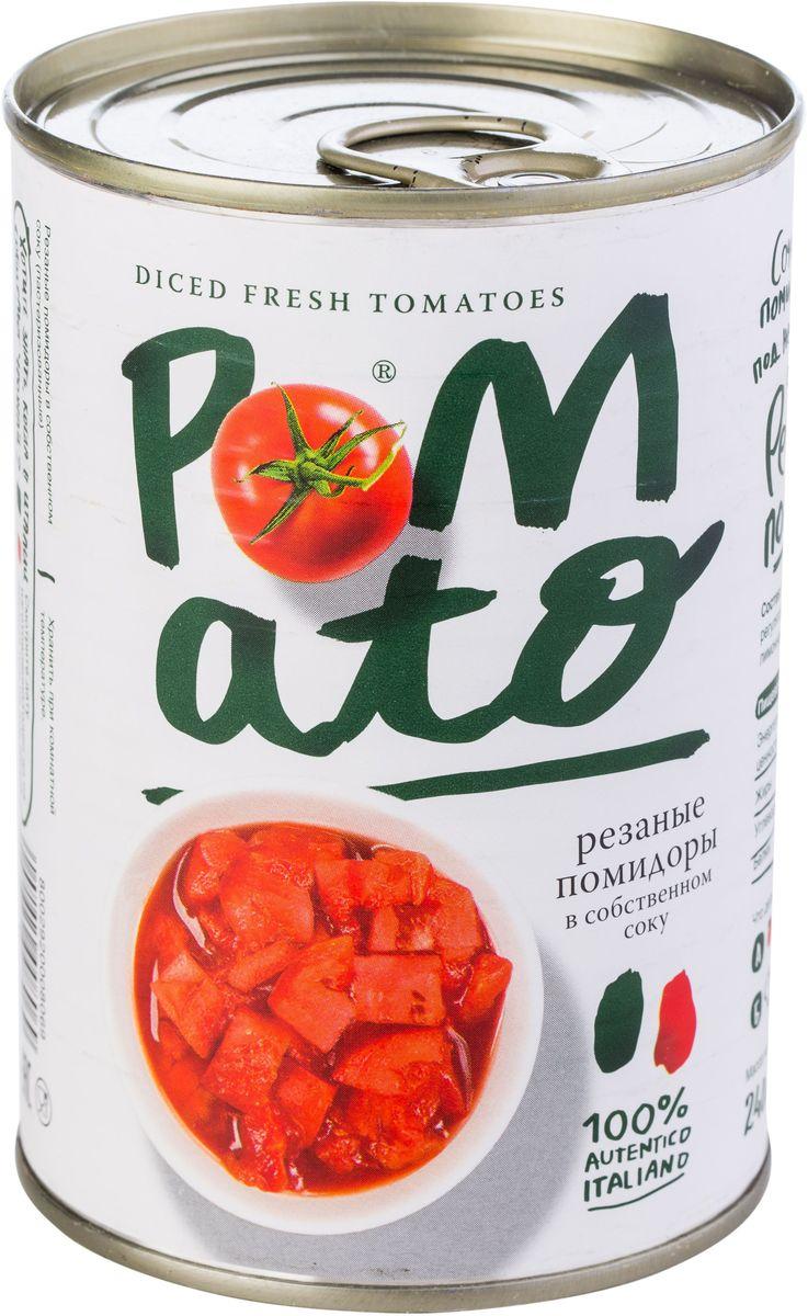 Pomato помидоры резаные в собственном соку, 400 г13102
