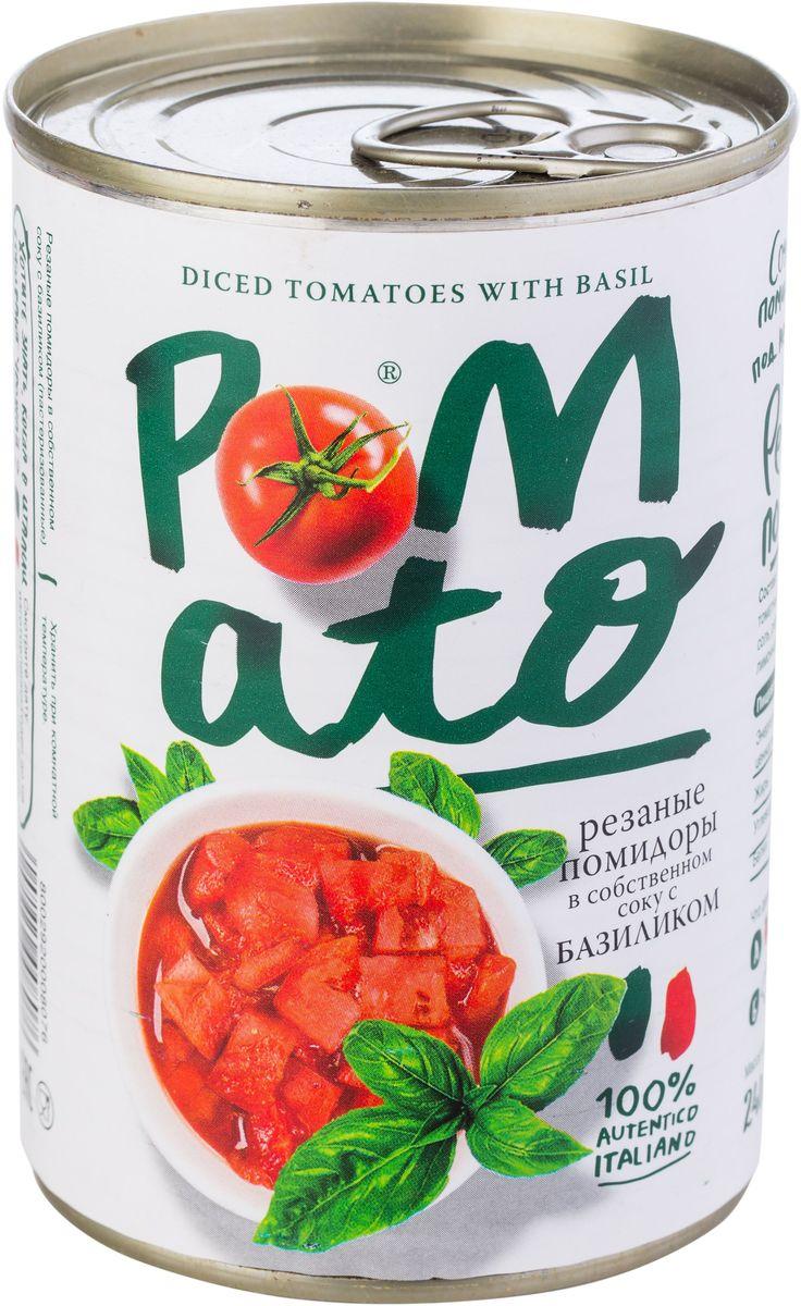 Pomato помидоры резаные в собственном соку с базиликом, 400 г13103