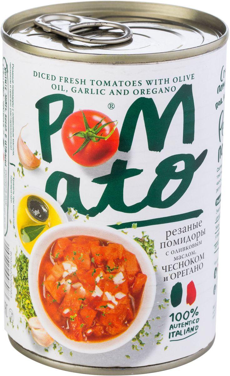 Pomato помидоры резаные с оливковым маслом чесноком и орегано, 400 г13104Помидоры Pomato - сочные вкусные итальянские помидоры, выращенные под неаполитанским солнцем на вулканических почвах у подножия Везувия. Только отборные помидоры, бережно упакованные в течение нескольких часов после сбора.