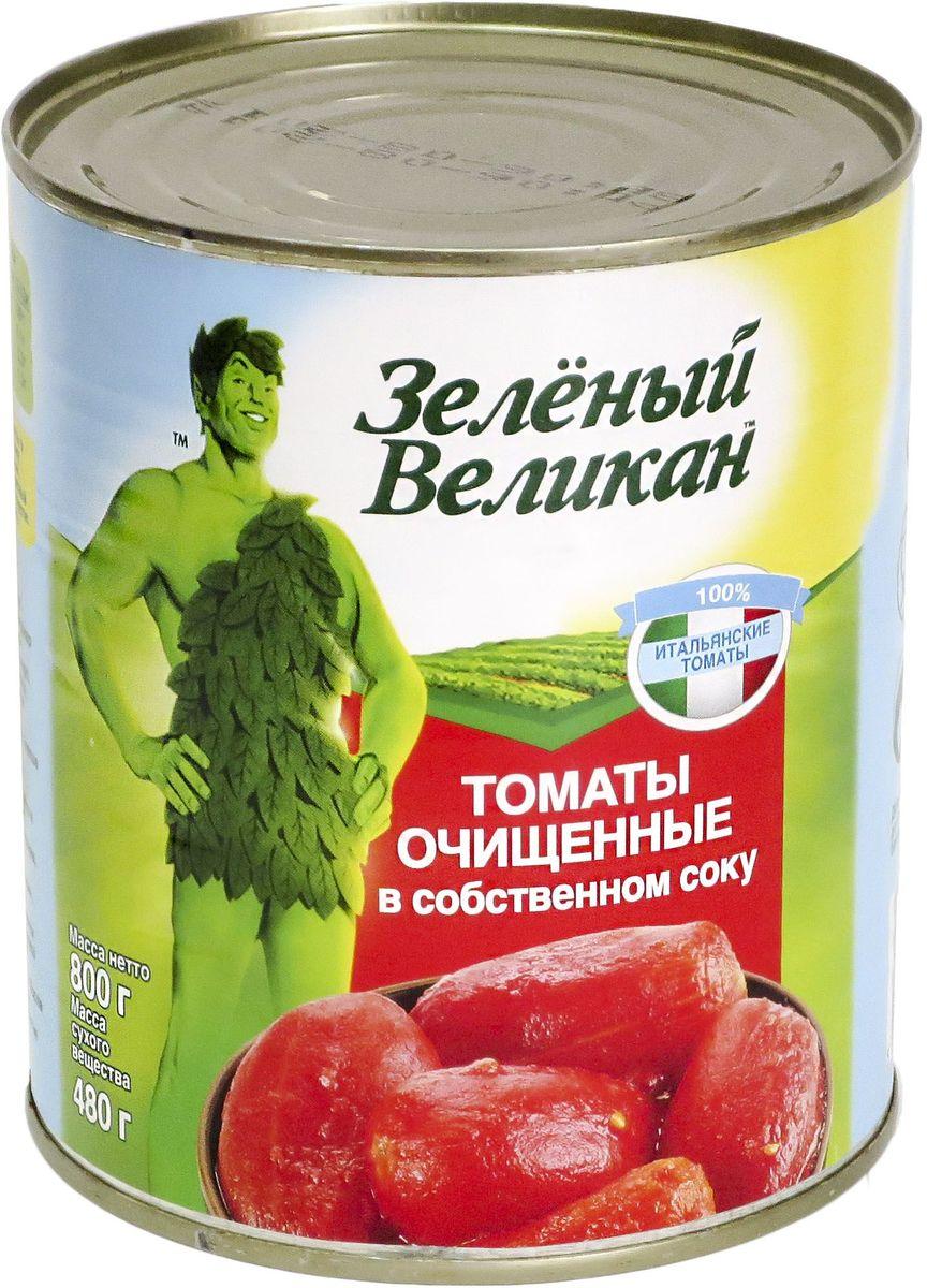 Зеленый великан томаты очищенные в собственном соку, 800 г 18120