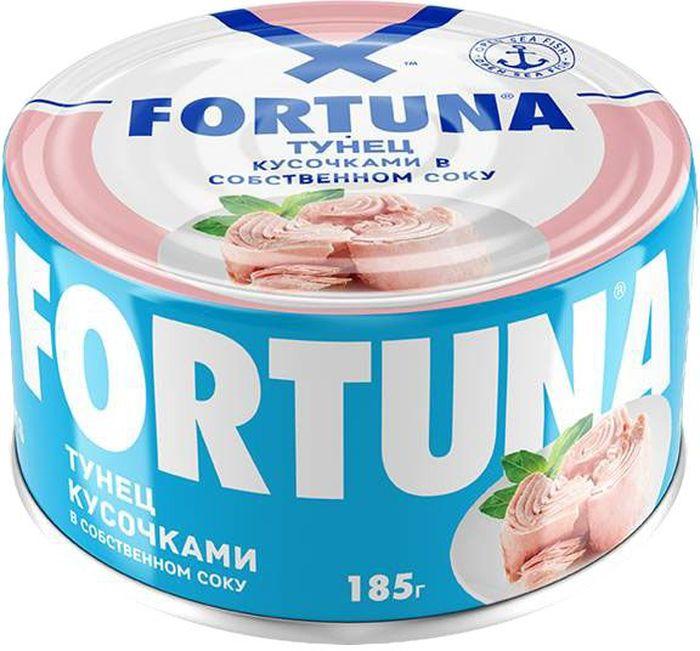 Fortuna тунец кусочками в собственном соку, 185 г26120