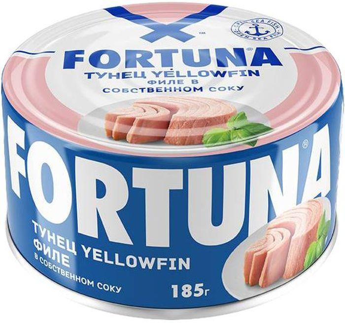 Fortuna тунец филе в собственном соку, 185 г26125Плотное мясо нежно-розового цвета в собственном соку. Вкусное, легкое и полезное диетическое блюдо, богатое белками, витамином D, жирными кислотами Омега-3, селеном, калием и натрием.