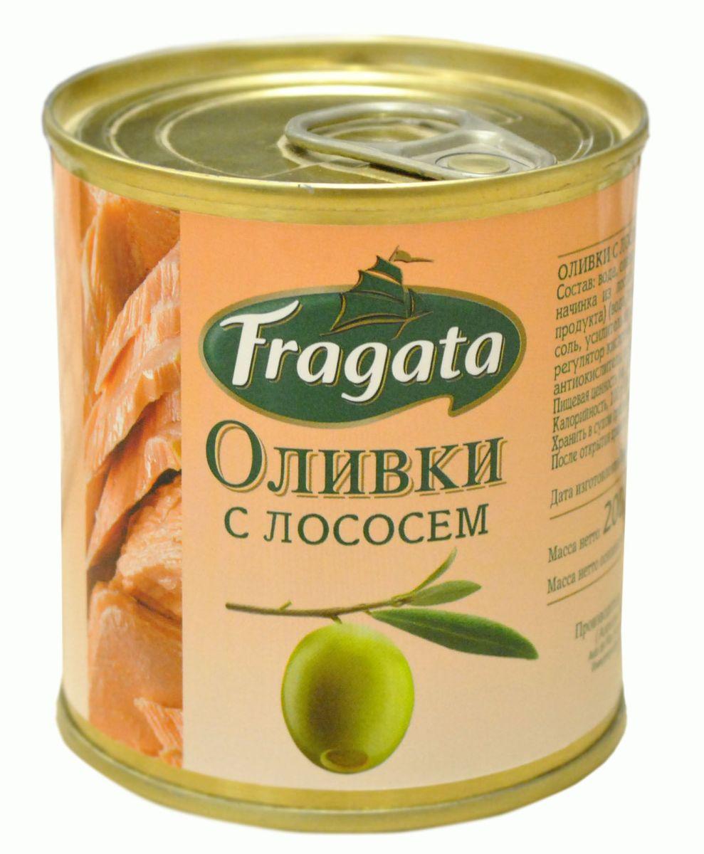 Fragata оливки с лососем, 200 г34117Маслины и оливки Fragata производятся компанией Angel Camacho, лучшим испанским производителем высококачественных оливок и маслин в среднем ценовом сегменте уже в течение 100 лет.