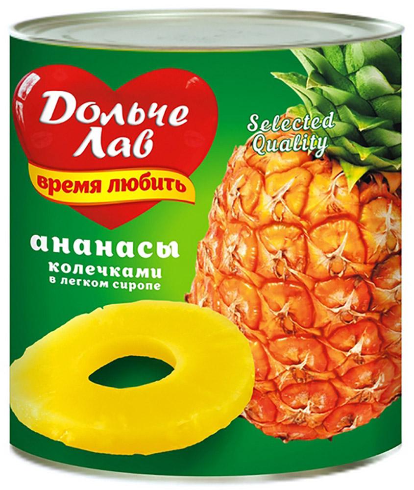 Дольче Лав ананасы колечками в сиропе, 580 мл