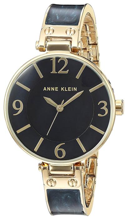 Наручные часы женские Anne Klein, цвет: синий, золотистый. 2210 NMGB2210 NMGBКорпус и браслет: металлический с розовым ПВД-покрытием и пластиковыми синими вставками, диаметр: 34мм; Стекло: минеральное; Циферблат: перламутровый, цвет: морской-синий, арабские цифры и индексы; Механизм: кварцевые. Водозащита 3АТМ.