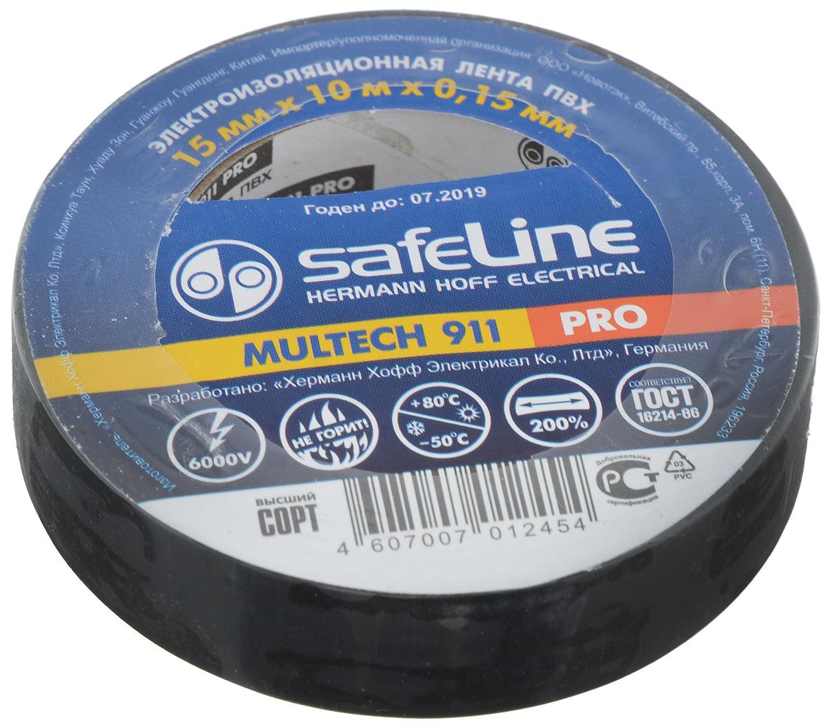 """Лента изоляционная Safelin """"Pro"""", цвет: черный, ширина 1,5 см, длина 10 м Safeline 9356"""