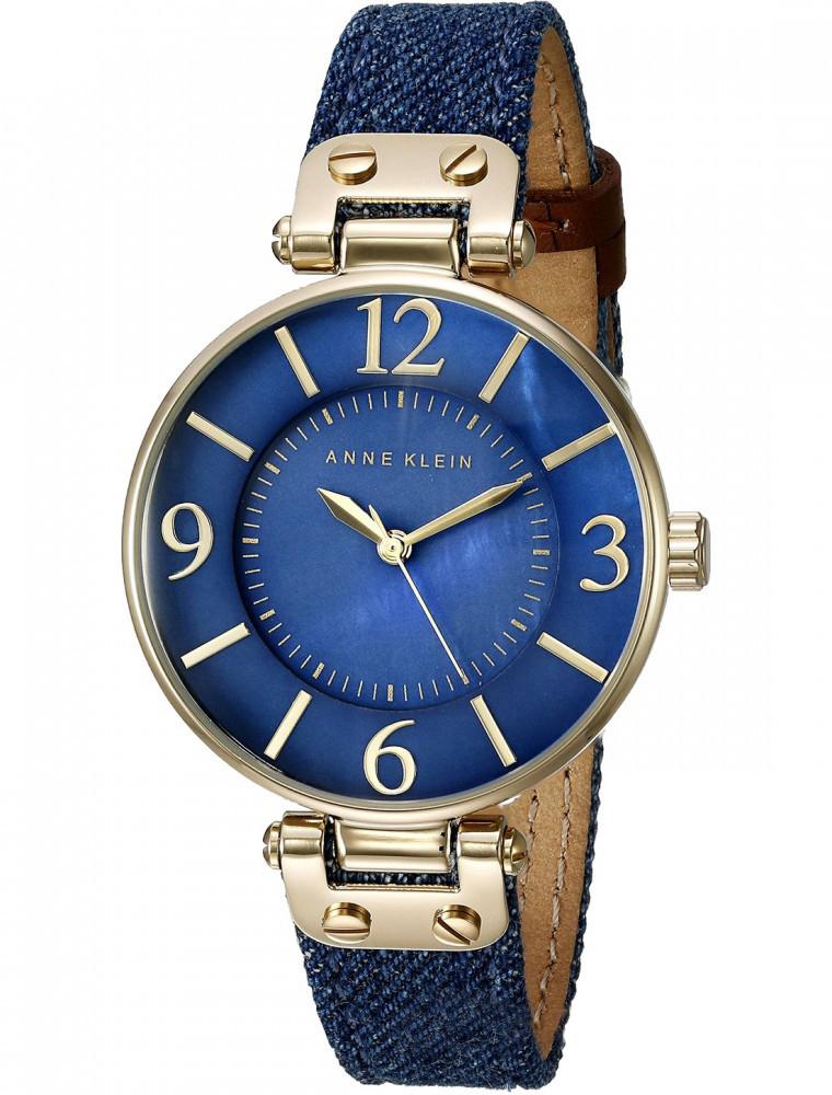 Наручные часы женские Anne Klein, цвет: синий, золотистый. 9168 BMDD9168 BMDDКорпус 34 мм, циферблат натуральный перламутр синего цвета, безель с покрытием золотого цвета, Минеральное стекло, Ремешок тканевый в цвете темно-синий деним, водозащита 3 АТМ
