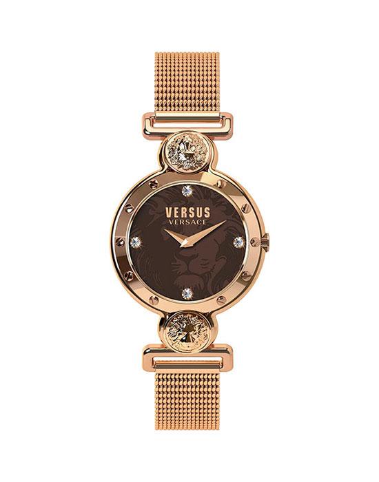 Наручные часы женские Versus Versace, цвет: розовый, коричневый. SOL13 0016SOL13 00163 стрелки, механизм кварцевый Citizen_2025, сталь, диаметр циферблата 38 мм, браслет, застежка из стали, стекло минеральное, водонепроницаемость - 3 АТМ