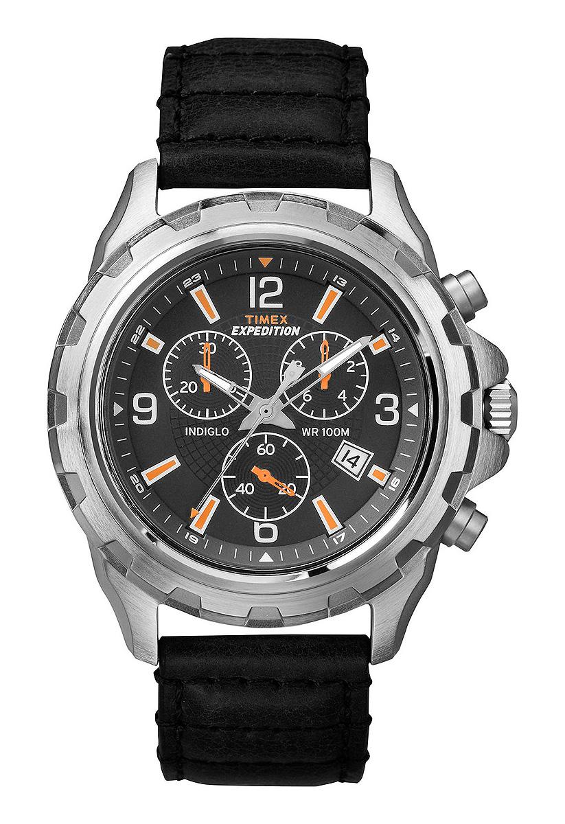 Наручные часы мужские Timex, цвет: черный. T49985T49985Корпус 45мм, циферблат черного цвета, ремешок из натуральной кожи черного цвета, хронограф, водозащита 10АТМ, подсветка INDIGLO