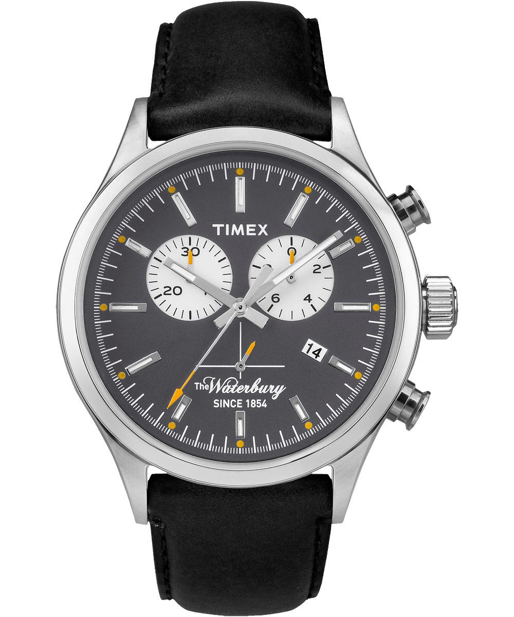 Наручные часы мужские Timex, цвет: черный. TW2P75500TW2P75500Корпус 42мм, циферблат темно-серого цвета, ремешок из натуральной кожи черного цвета, хронограф, водозащита 5АТМ, подсветка INDIGLO