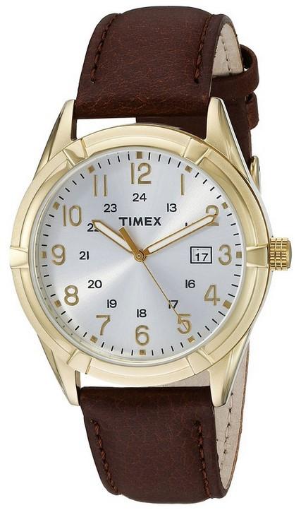 Наручные часы мужские Timex, цвет: коричневый. TW2P76600TW2P76600Корпус 39мм, циферблат белого цвета, ремешок из натуральной кожи коричневого цвета, водозащита 3АТМ, дата, подсветка INDIGLO