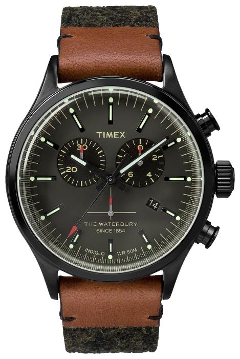 Наручные часы мужские Timex, цвет: черный, коричневый. TW2P95500TW2P95500Хронограф, корпус 42 мм из нержавеющей стали, темно-серого цвета; на твидовом ремне, в составе натуральная кожа; минеральное стекло; аналоговый циферблат темно-серого цвета, индексы, дата; подсветка INDIGLO; водозащита 5 AТМ.