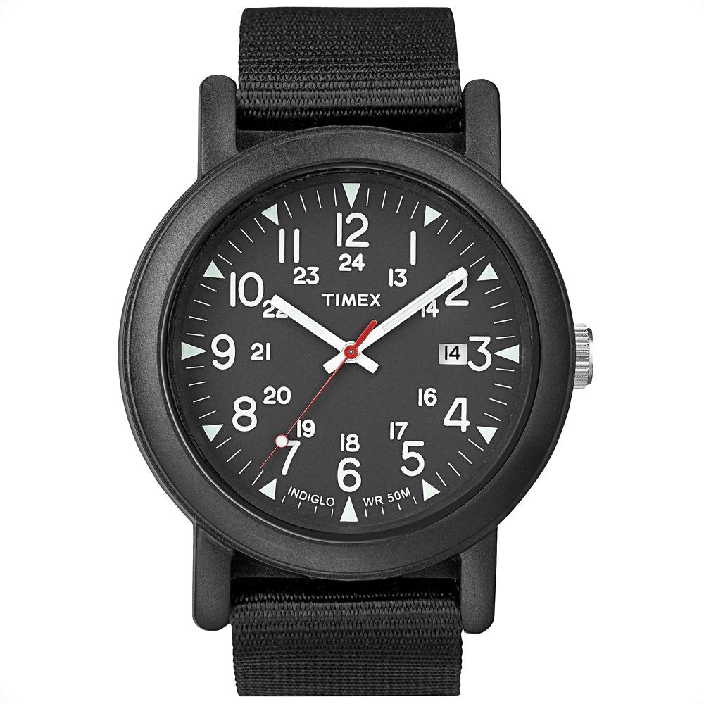 Наручные часы мужские Timex, цвет: черный. T2N364T2N364Корпус 40 мм, 24- часовой формат времени, индекс даты, ремешок текстильный черного цвета, водозащита 5 АТМ, подсветка INDIGLO