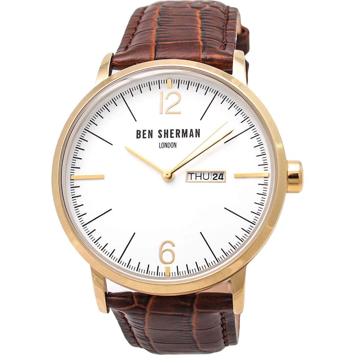 Наручные часы мужские Ben Sherman, цвет: коричневый. WB046TGWB046TGТрехстрелочный механизм Miyota 2105 c датой и днем недели; IPG-покрытие; Размер корпуса 45 мм; Минеральное стекло; Белый матовый циферблат; Коричневый ремешок из натуральной кожи; Водозащита 3 ATM