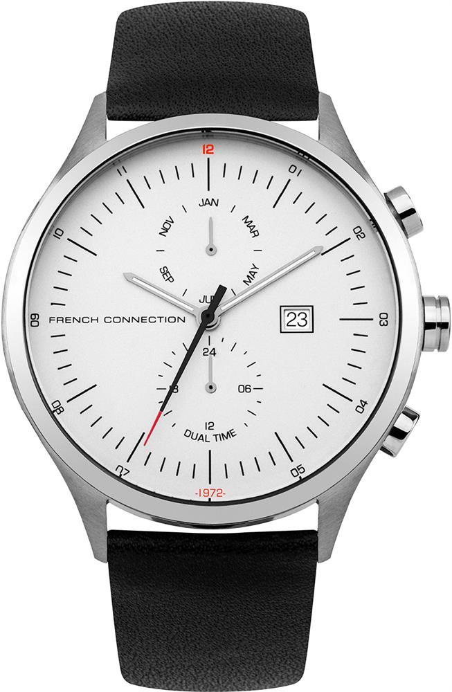 Наручные часы мужские French Connection, цвет: черный. FC1266BFC1266BМультифункциональный механизм ISA 9232 - 1930; IP Silver- покрытие; Размер корпуса 44 мм; Минеральное стекло; Матовый белый циферблат; Черный кожаный ремешок; Водозащита 5 АТМ