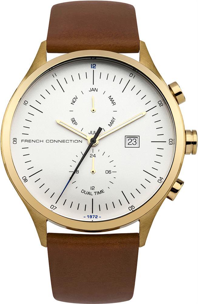 Наручные часы мужские French Connection, цвет: коричневый. FC1266TGFC1266TGМультифункциональный механизм ISA 9232 - 1930; IP Gold- покрытие; Размер корпуса 44 мм; Минеральное стекло; Матовый белый циферблат; Коричневый кожаный ремешок; Водозащита 5 АТМ