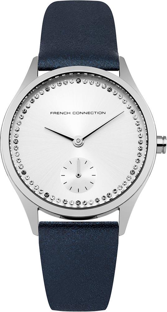 Наручные часы женские French Connection, цвет: синий. FC1272UFC1272UТрехстрелочный механизм Miyota VD78; IP Silver- покрытие; Размер корпуса 35 мм; Минеральное стекло; Серебрянный циферблат Санрей; Чешские кристаллы; Синий перламутровый ремешок; Водозащита 5 АТМ