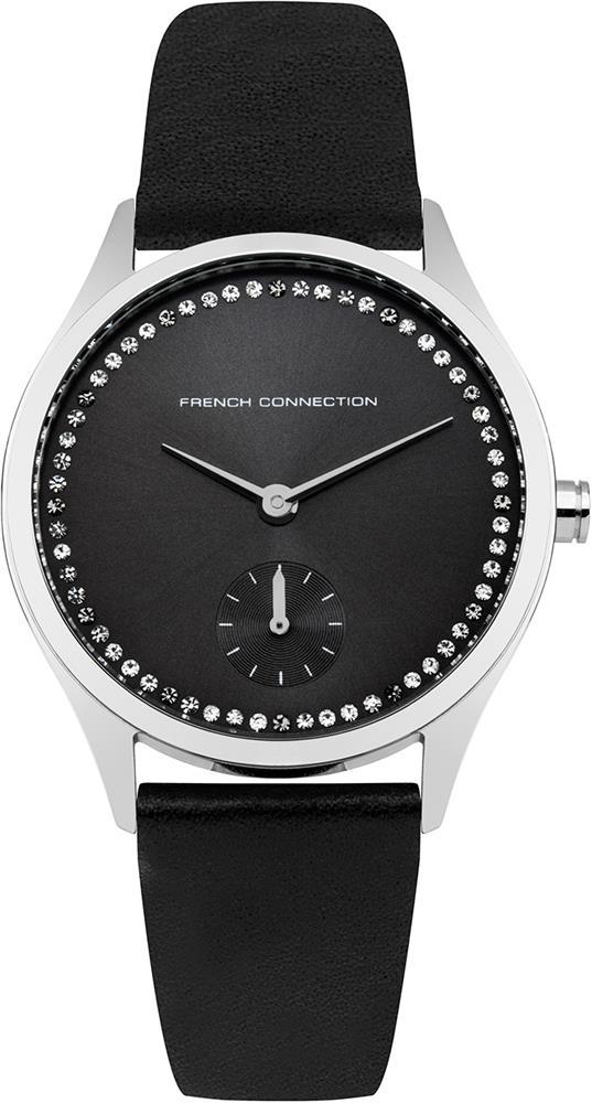 Наручные часы женские French Connection, цвет: черный. FC1272BBFC1272BBТрехстрелочный механизм Miyota VD78; IP Silver- покрытие; Размер корпуса 35 мм; Минеральное стекло; Черный циферблат Санрей; Черный перламутровый ремешок; Водозащита 5 АТМ