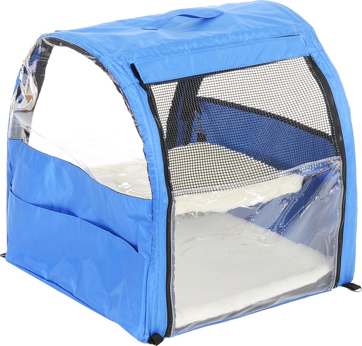 Клетка для животных Заря-Плюс, выставочная, цвет: голубой, черный, 51 х 58 х 55 смКВП1гКлетка для животных Заря-Плюс предназначена для показа кошек и собак на выставках. Она изготовлена из плотного текстиля и имеет полукруглую форму. Каркас состоит из дуг. Лицевая сторона палатки выполнена из пленки, которая может полностью отстегиваться. Обратная сторона палатки выполнена наполовину из сетки, наполовину из пленки. С двух сторон клетки имеются вместительные карманы, куда вы можете положить все необходимое. Клетка снабжена съемной подстилкой и гамаком из искусственного меха. В собранном виде клетка довольно компактна, при хранении занимает мало места. Палатка переносится в чехле, который входит в комплект.
