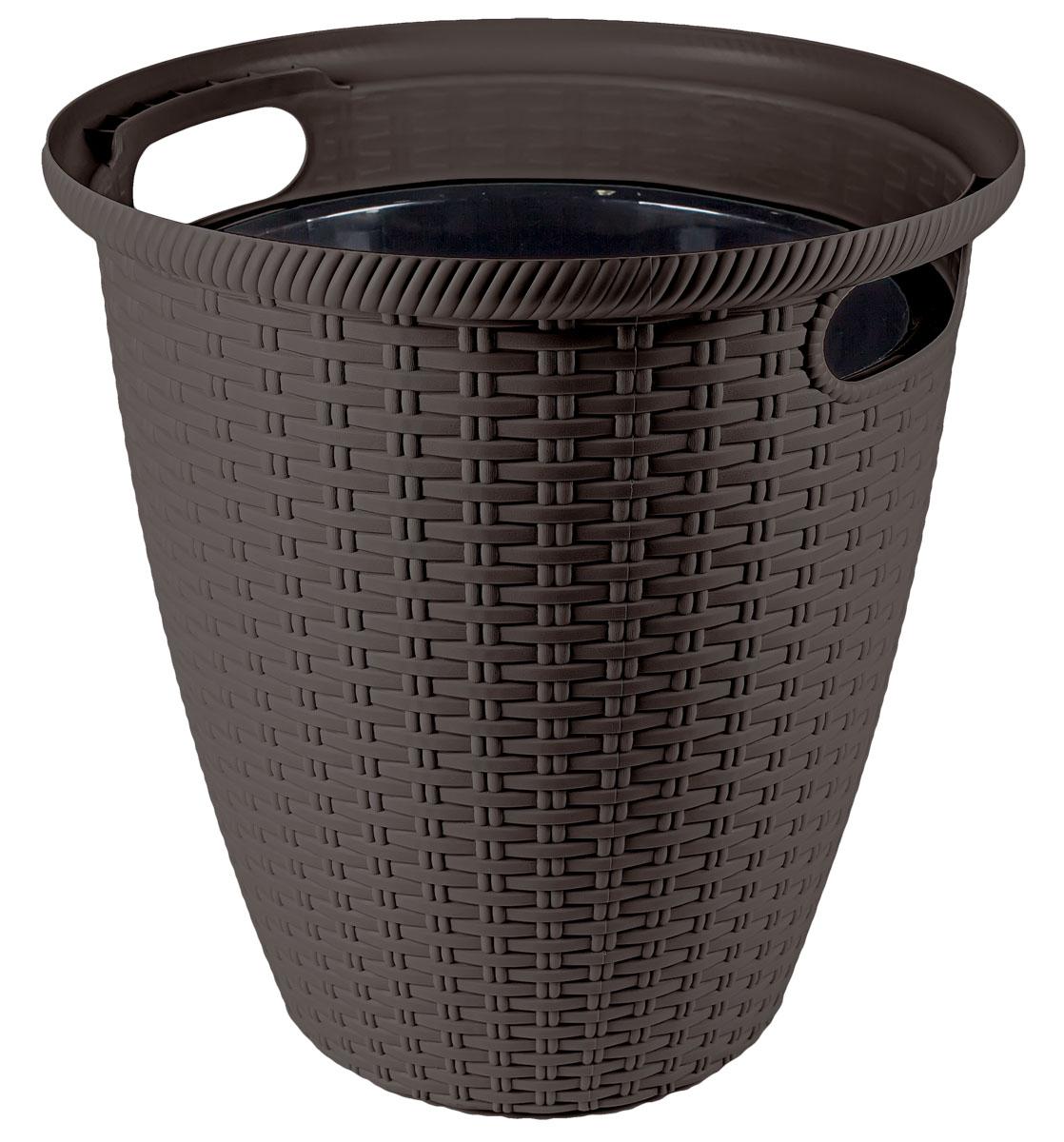 Кашпо InGreen Ротанг, напольное, цвет: венге, диаметр 38 смING50030ВНГКашпо InGreen Ротанг изготовлено из высококачественного пластика с плетеной текстурой. Такое кашпо прекрасно подойдет для выращивания растений и цветов в домашних условиях. Лаконичный дизайн впишется в интерьер любого помещения. Размер кашпо: 38 х 38 х 37,8 см.