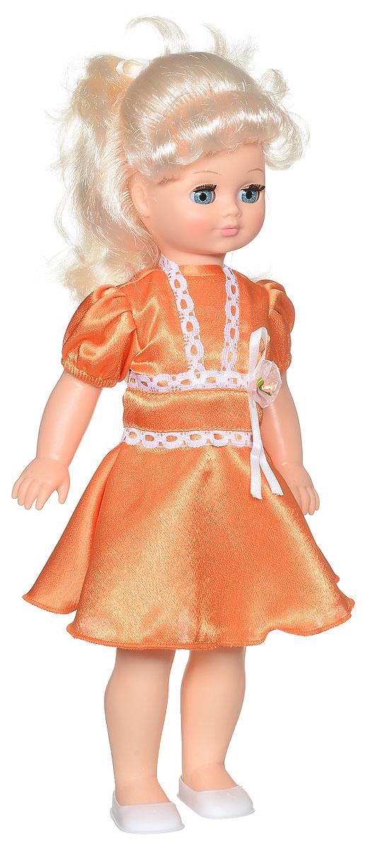 Весна Кукла озвученная Лиза цвет платья оранжевыйВ1896/о_оранжевыйМилая кукла Весна Лиза сможет стать настоящей подружкой для ребенка. У куклы голубые глаза и длинные светлые волосы. Одета куколка в нарядное платье из атласа и белые туфли. У Лизы закрываются глазки, и она умеет разговаривать. При нажатии на звуковое устройство, вставленное в спинку, кукла произносит различные фразы. Наличие элементов одежды, которые легко снимаются и надеваются, разнообразят возможности сюжетно-ролевых игр с этой куклой, в процессе которых развивается творческое воображение ребенка. Игры с очаровательной куклой также помогут развить мелкую моторику, а возможность менять костюмчики и прически формирует эстетический вкус. Для работы игрушки рекомендуется докупить 3 батарейки LR44/AG13/СЦ357 (товар комплектуется демонстрационными).